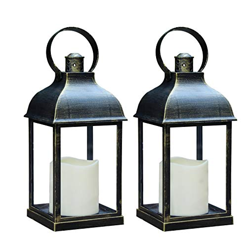 MammyGol 2-Pack 10' Vintage Decorative Lanterns with Timer - Outdoor Candle Lantern with LED...