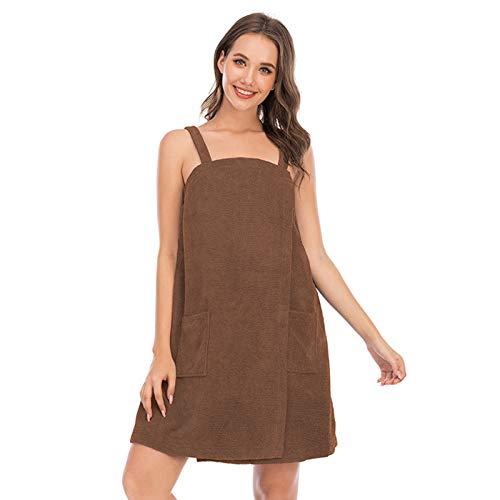 Toalla de baño para mujer, con bolsillos, decoración + gorro de ducha de color sólido, ropa de playa de verano