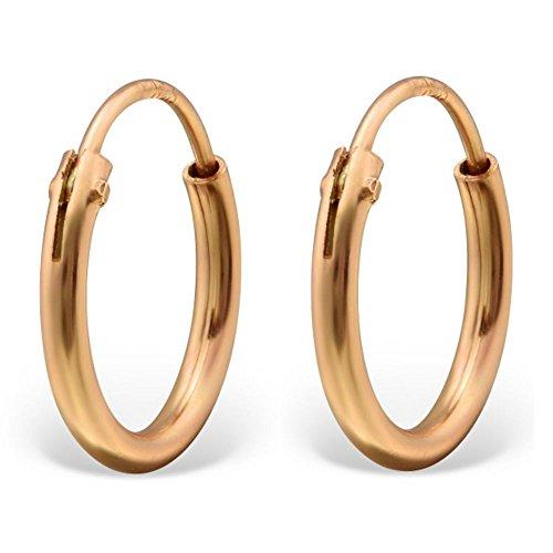 Bungsa© rosegoldene CREOLEN 925 Silber für Damen & Herren - ROSEGOLD - klassisches Kreolen Ohrringe Set für Frauen & Männer - schlichte rosé Klapp-Creolen - rosè-goldene Ohrringe zum Klappen