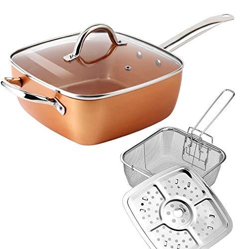 SIPERLARI 4 unids/set de acero inoxidable sartén antiadherente cuadrado multifuncional gran base de inducción ideal para hacer sopa freír carne