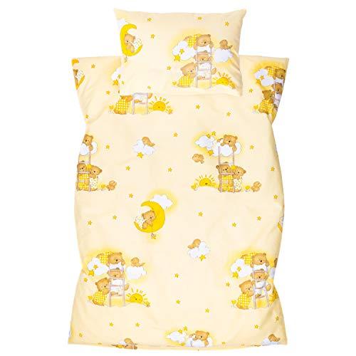 Amilian Kinderbettwäsche 2-teilig 100% Baumwolle Kinder Bettwäsche Babybettwäsche für Baby Bettbezug 100 x 135 cm, Kopfkissenbezug 40 x 60 cm, mit Hotelverschluß Bär auf der Leiter Ecru