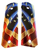 Premium Gun Grips Compatible Replacement for 1911 Pearl Colt Gov. & Clones Taurus, S&W, Springfield, Rock Island MOP Full Size w/Revolutionary US Flag