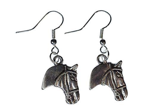 pendientes horsehead pendiente percha Miniblings del caballo del vaquero del caballo del metal de plata
