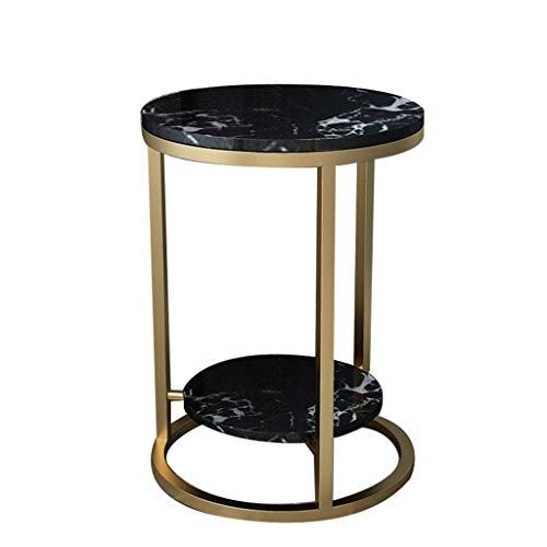 Table décorative ZWD - Double couche - Placage marbre - Table basse - Canapé latéral - Balcon, magasin de fleurs - Support multifonction en métal, Métal, b, 40*55CM
