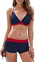 Century Star Women Swimsuit Halter Criss Cross Top with Boyshort Bikini Set Two Piece Bathing Suit Swimwear A Navy and Red X-Large (fits Like US 10-12)