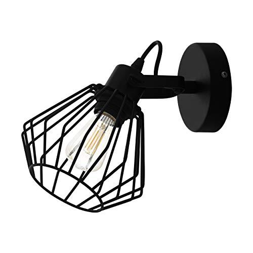 EGLO Wandlampe Tabillano, 1 flammige Deckenlampe Vintage, Industrial, Modern, Wandleuchte innen aus Stahl, Wohnzimmerlampe, Flurlampe in Schwarz, Spot mit E27 Fassung