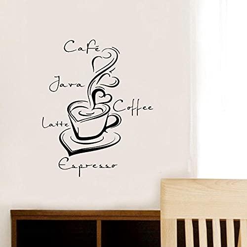 Creative Latte Coffee Cup Art Pegatinas Restaurante Cocina Extraíble Vinilo Pared Pegatinas Decoración Hogar Impermeable Papel pintado 55x44cm