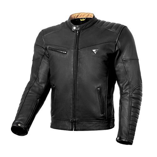 SHIMA WINCHESTER BLACK XL Winchester, Motorradjacke Herren Motorradjacke mit Protektoren Leder Stadt Classic Vintage Motorrad Jacke, Schwarz, Größe XL