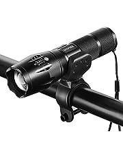 HOMIEE 自転車ライト 懐中電灯兼用 小型 強力 ヘッドライト 高輝度 5モード ズーム式 防水 防災対策