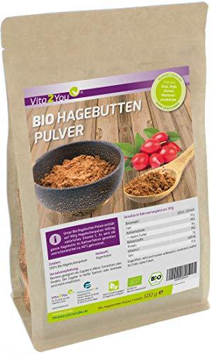 Bio Hagebuttenpulver 500g - 100{57fcfee390ec094306b5a4c863835c36272186c4acbb1b82d801afc69fe7b88c} Ökologischer Anbau - Rohkost-Qualität im Zippbeutel - ganze Hagebutten gemahlen - kontrollierte Premium Qualität