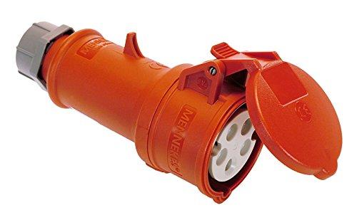 as - Schwabe 61427 MENNEKES CEE-Kupplung 400V/32A, rot, mit Klappdeckel, 400 V