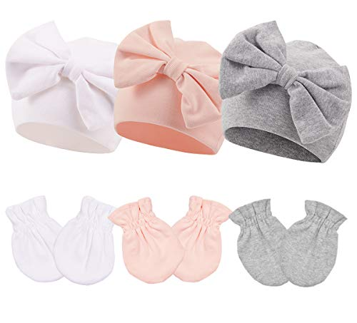 Newborn Beanie Hat Gloves Set, Baby Girl Beanie Spring Summer Autumn Winter Hats for 0-6 Months Infant Cotton (0-6 Months, Pink White Gray (9pcs