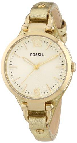 Fossil Georgia - Reloj de Cuarzo para Mujer, con Correa de Cuero, Color Dorado