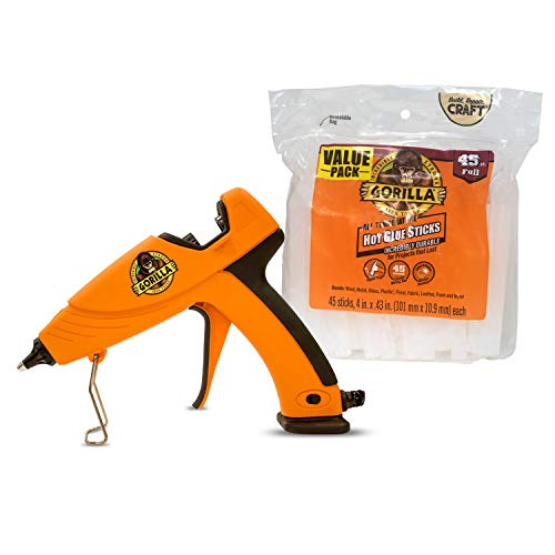Gorilla 104987 Full Size Hot Glue Gun and Sticks, 45, Orange