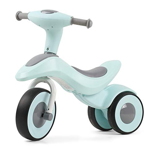 3 Wheels Toddler Balance Bike for 1 2 3 Year Old with Baby Seat Kick Learning Bicycle Without Pedals for Boys Girls Light Blue
