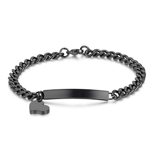 Libre grabado acero inoxidable negro Plain colgante de corazón ID pulsera para las mujeres, 8pulgadas