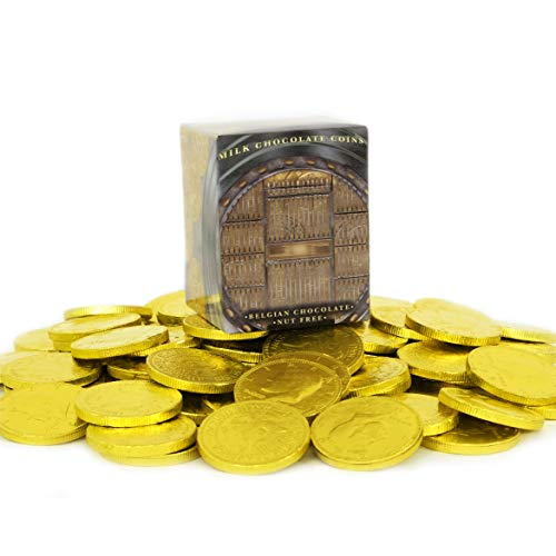 Milk Chocolate Coins - Chocolate Coins Wrapped in Gold, Chocolate Coins - Nut Free - Vault Design (Approximate 30 Coins)