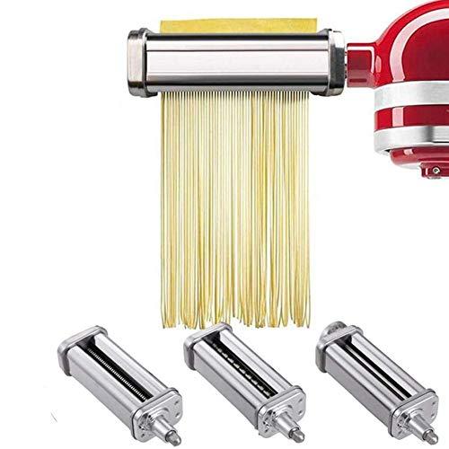 Pasta-Roller & Cutter Aufsatz 3-In-1 Nudelaufsatz, Für Alle Kitchenaid Dreiteiliger Nudelvorsatz Küchenmaschine, Inklusive Nudelroller, Pasta Set Zubehör,Spaghettischneider, Fettuccine Cutter ,3 sets