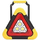 Goshyda Señal de Advertencia Triangular, luz de Trabajo de señal Triangular LED, lámpara de Emergencia, señal de Advertencia Reflectante de Seguridad de avería de Coche Plegable