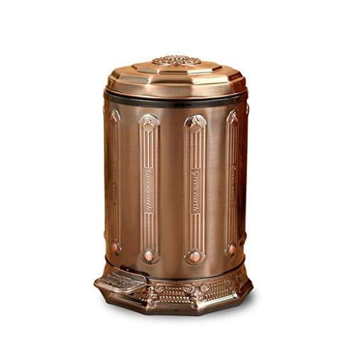 XiuHUa Europese stijl Thuis Pedaal Vuilnisbak Retro RVS Prullenbak, keuken voetpedaal keuken vuilnisbak hout graan afval recycling