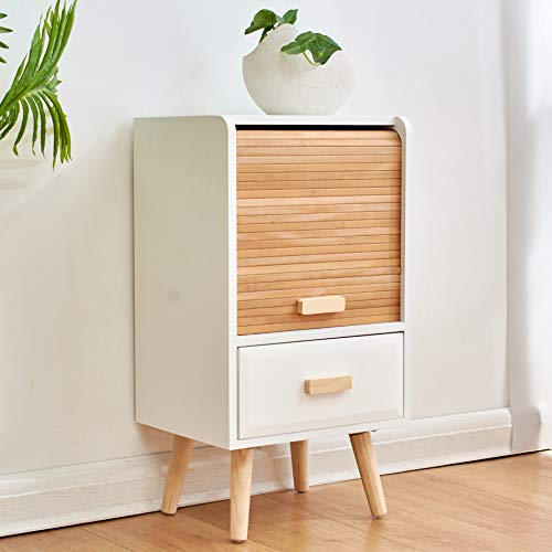 Cherry Tree Furniture TAKE Bedside Table with Slatted Bamboo Sliding Doors (1-Door &1 Drawer)