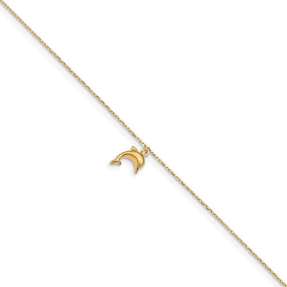 14k Dolphin Charm 9in Plus 1in Extension Anklet 10in style ANK231-10