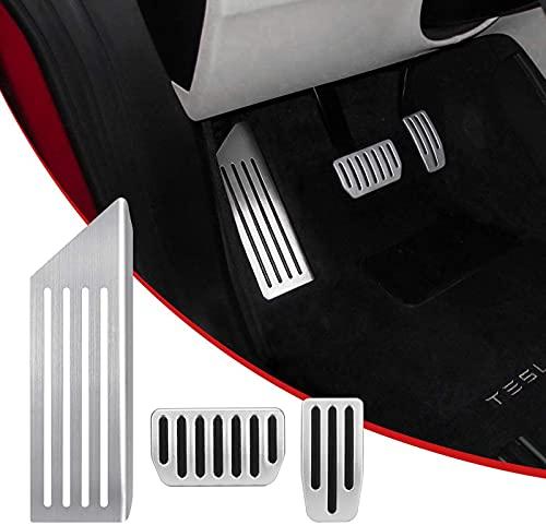 SUKLIER Cubiertas De Almohadillas De Pedal De Coche Model3 para Tesla Model 3, Almohadillas De Pedal De Acelerador, Freno Y ReposapiéS (Un Juego De 3)