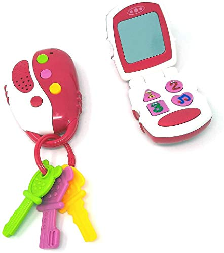 Brigamo 2er Set Motorikspielzeug Kinder Smartphone & Autoschlüssel, Lernsspielzeug mit Geräuschen und Melodien