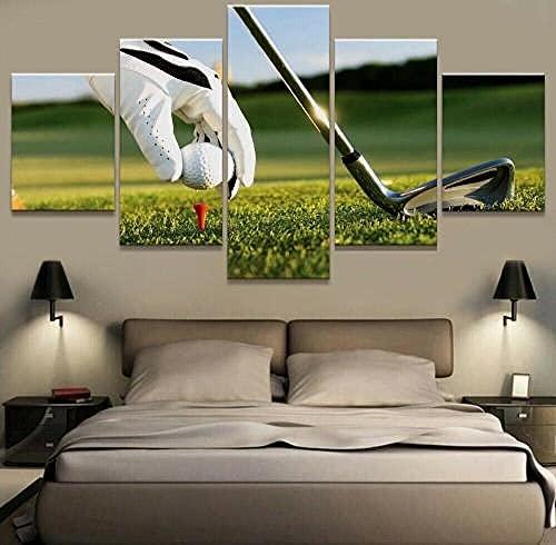 COCOCI Lienzo 5 Piezas Paisaje de Jugador de Pelota de Golf Lienzos Decorativos Cuadros Grandes Baratos Cuadros Decoracion Cuadros para Dormitorios Modernos Cuadros Decoracion Regalos Personalizados