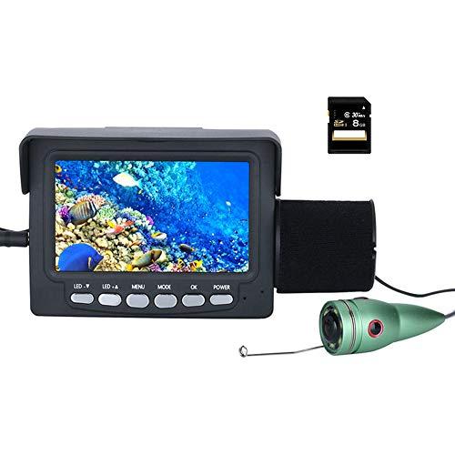 Cámara de video de pesca submarina, Buscador de peces Monitor DVR de 4.3 pulgadas con cable de 15M, Cámara impermeable LED de visión nocturna con 6 IR, para pesca en mar / barco / kayak / hielo