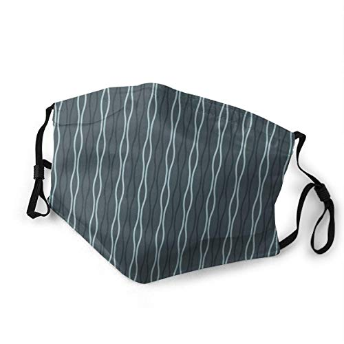 Dustproof Scarf,Ocean Under The Sea Wellenlinien Zebra Inspired Stipes Bildverstellbarer Earloop Half Face Schal Für Sport-Snowboarden,20x15cm