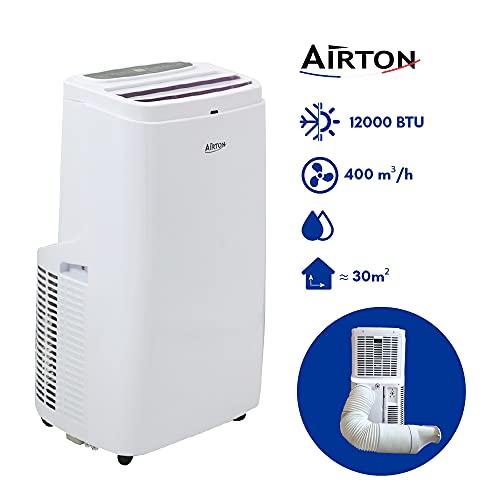 Airton - Climatiseur mobile réversible 3500W/2500W 12000BTU Froid/Chaud & Déshumidificateur - convient pour une surface jusqu'à 35m2 [Classe énergétique A]