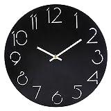 TXXCI Style de pays simple Rond Horloge et trotteuse silencieuse pour la chambre salon muet horloge murale décor - Noir