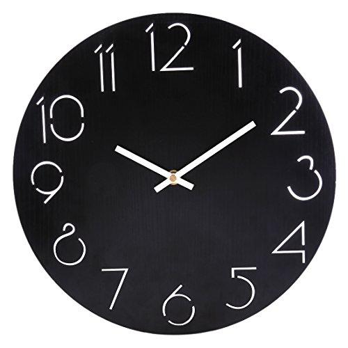 CT-Tribe Wanduhr Vintage Lautlos, 12 Zoll(30cm) MDF Wanduhr Retro Vintage Uhr Ohne Ticken Wall Clock Küchenwanduhr - 2