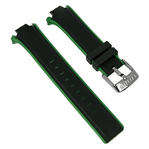 Ersatzband Uhrenarmband Kunststoff Band schwarz/grün passend zu Lotus Watches L18107/7 L18107/alle