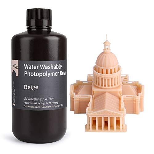 ELEGOO Stampante 3D lavabile in acqua Resina rapida LCD Resina fotopolimerizzante UV 405nm Resina fotopolimerica standard per stampa 3D LCD 1000Gram Colore della pelle