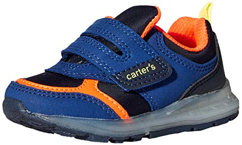 Carter's Boys' Liner Light up Hook and Loop Slip on Athletic Shoe Sneaker, Navy, 6 M US Toddler