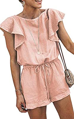 Angashion Women's Loose Casual Ruffle Cap Sleeve Short Jumpsuits Hollow Back Romper with Belt Pink XL