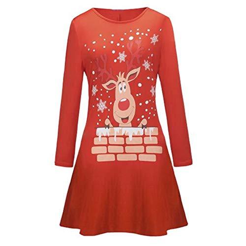 Vestido De Manga Larga NavideñO Cuello Redondo Impreso Casual S-2xl