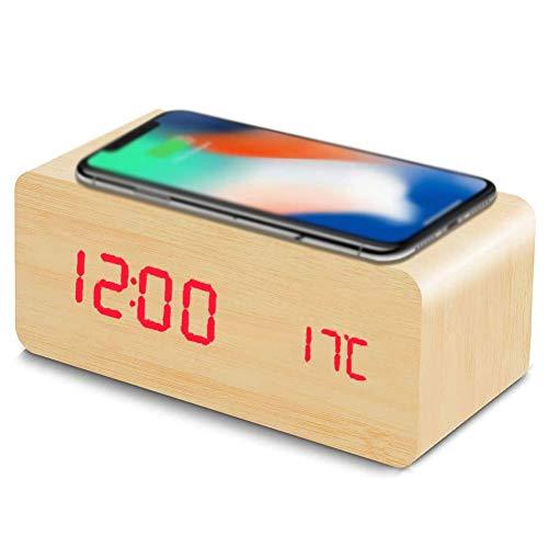 Digital Reloj Despertador Digital con Cargador Inalámbrico 3 Niveles de Brillo Regulable Dimmer Control por Voz y Configuración de Alarma Pantalla LED de Temperatura Tiempo Reloj Digital Cabecera