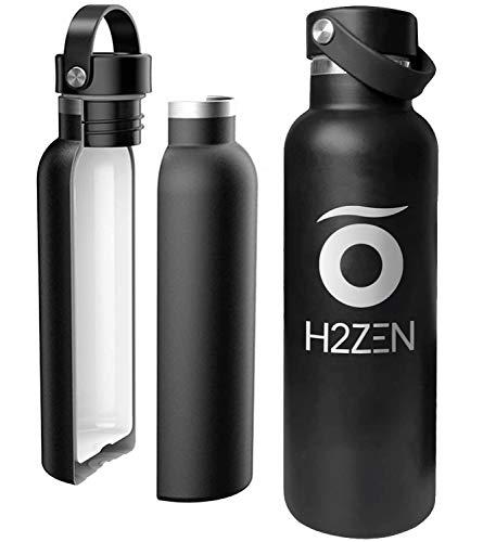 H2ZEN - Borraccia in acciaio inox senza BPA, con rivestimento interno in ceramica, 600 ml, doppio strato con vuoto, senza sapore metallico, colore nero