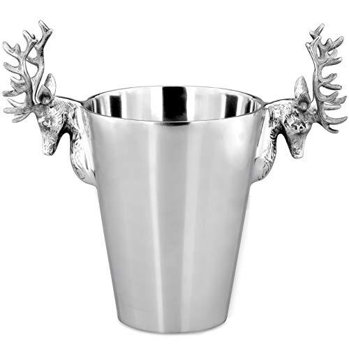 H.Bauer jun. edler Flaschenkühler Aluminium poliert - Motiv Hirsch Ø 21 cm - als Weinkühler, Sektkühler oder Flaschenkühler nutzbar