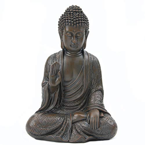 Leekung Meditative Seated Buddha Statue,Rustic Buddha Decor Figurine,Antique Meditation Buddah Home Decoration 11'inch Brown Color