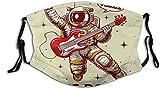 Keyboard cover Gesichtsschutz Mundschutz Verrückter Astronaut, der Gitarre spielt, lässt Uns rocken Nasenschutz Wiederverwendbar Waschbar Gesichts Schals Mit 6 Filtern