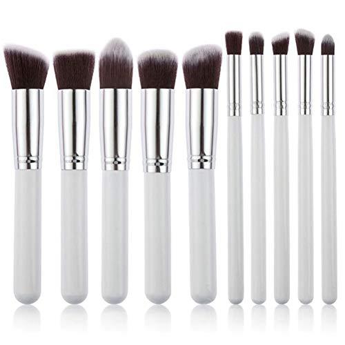 Yiwa Outils de beauté,10 Pcs Maquillage Pinceau Fondation Pinceau Poudre Pinceau Fard À Paupières Brosses argent blanc argent blanc