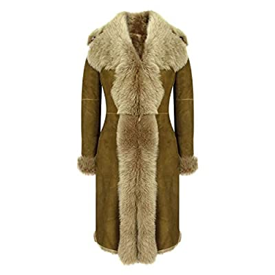 Infinity Womens Super Luxury Toscana 3/4 Coat Real Sheepskin Beaver Shearling Suede Jacket Brown L - 14