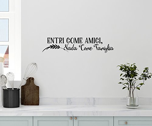 """36""""x8"""" Entri Come Amici Vada Come Famiglia Enter As Friends Leave As Family Kitchen Italian Saying Cooking Heart Wall Decal Sticker Art Mural Home Decor"""