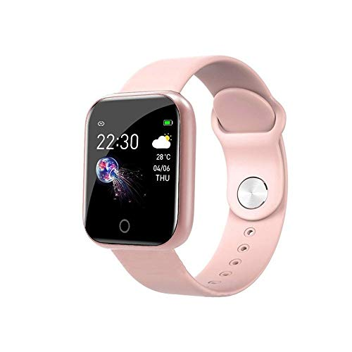 YFC Smart Watch Frauen Männer , Smartwatch für Android IOS Electronics Smart Clock Fitness Tracker Silikonarmband Smart-Watch Stunden (Farbe : I5 pink, Größe : with Box)