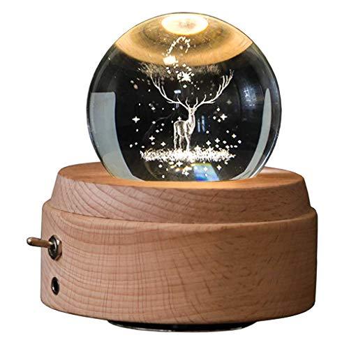 Kuinayouyi 3D Caja De Música con Forma De Bola De Cristal The Deer Luminous Rotating Musical Box con Proyección Led Light