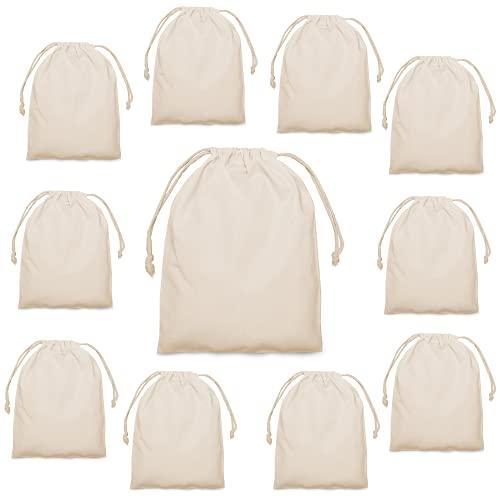 25 x 30 sacs en tissu en coton Ensemble de 10 pièces - sacs à cordon sacs à pain sacs à fruits et légumes - rangement - filets à provisions filet à légumes DIY durable dans la nature